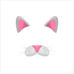 Cat face elements. Vector illustration. Animal character ears and nose. Video chart filter effect for selfie photo decoration. Cartoon grey Cat mask. Isolated on white. Easy to edit.