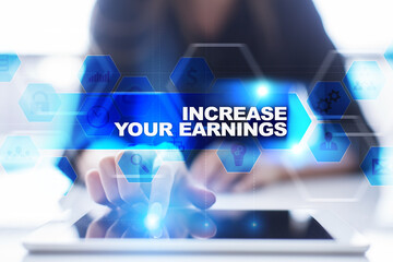 Woman using tablet pc, pressing on virtual screen and selecting increase your earnings.