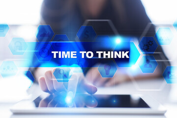 Woman using tablet pc, pressing on virtual screen and selecting time to think.