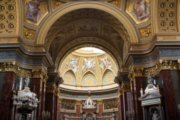 Interior of St. Stephen`s Basilica in Budapest, Hungary