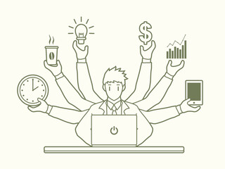 Busy Businessman with many hands holding many items outline stroke graphic vector