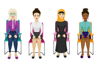 Different nationality business women set. Women are sitting on the office chair.
