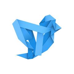 Blue bird made of crumpled blue strip.