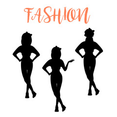 Fashion woman silhouette in different poses