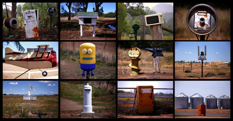 A combination picture shows a variety of odd-shaped mailboxes, including old washing machines, refrigerators, car engines, beer kegs, and a microwave, to be found along roads in rural areas of New South Wales, north of Sydney