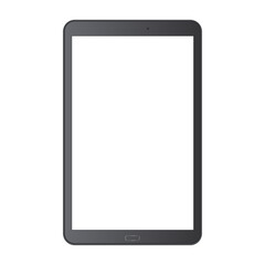 Black tablet with blank screen isolated on white background. Mockup for display your web-site design. Vector illustration