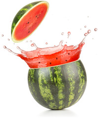 watermelon juice spilling out of a cut fruit