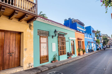 Colorful houses in the old town Cartagena, Colombia