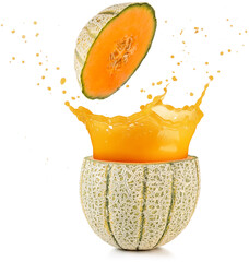 Wall Mural - juice spilling out of a cantaloupe melon