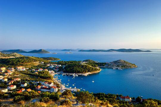 Amazing Kornati islands of Croatia. Northern part of Dalmatia. Sunny detail of seascape from Zadar to Sibenik.