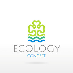 Ecological symbol logo with clover leaf, blue water wave. Ecology nature concept. For gardening, environment design. Flat silhouette vector icon isolated on white background. Vector illustration.