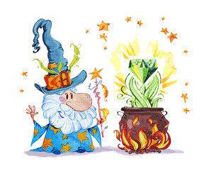 Artistic watercolor hand drawn magic illustration with stars, wizard in big hat, pot on fire magic diamond isolated on white background. Fairy tale magician. Children illustration.
