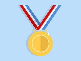 Gold Medal Flat Icon Vector
