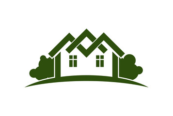 Abstract vector illustration of country houses with horizon line. Village theme picture – green house. Simple buildings on nature background, graphic emblem for advertising and real estate.