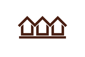 Colorful holiday houses vector illustration, home image. Touristic and real estate creative emblem, cottages front view. Countryside theme.