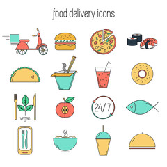 Food ordering and delivery icons set.