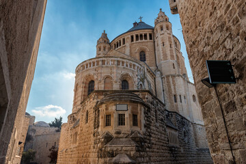 Dormition abbey and church on Mount Zion in Jerusalem.