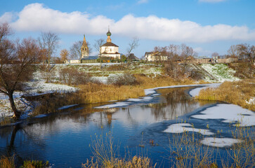 SUZDAL, RUSSIA - November, 2016: View of the old church in Suzdal. The Holy Cross Church and the Church of Cosmas and Damian