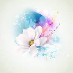 Summer holiday spirits abstract composition. Blooming white magnolia with lettering pleasant journey on the abstract watercolor blue and pink blots backgrounds.