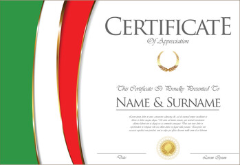 Certificate or diploma Italy flag design