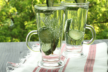 Carbonated bottled water with cucumber dill
