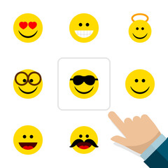 Flat Expression Set Of Cheerful, Joy, Laugh And Other Vector Objects. Also Includes Laugh, Angel, Sunglasses Elements.