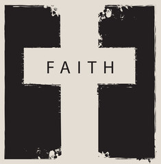 the sign of the cross scratched on abstract monochrome background with the word faith