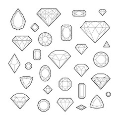 Diamond, icon set, vector illustration, line design, isolated on white background