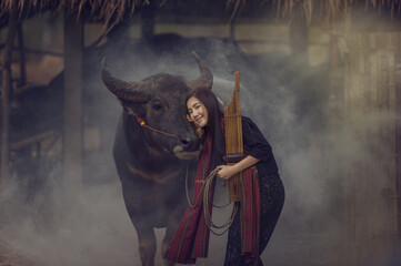 Asian woman wearing traditional thai culture,vintage style,Thailand