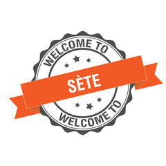 Welcome to Sete stamp illustration