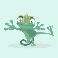 Cute chameleon. Vector illustration.
