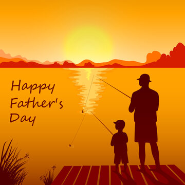Dad and son fishing on the sunset together.