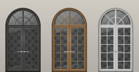 Set of classic arched wooden doors for a balcony. Doors of different colors. Vector graphics