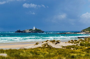 Godrevy Island from Gwithian Towans, Cornwall, UK