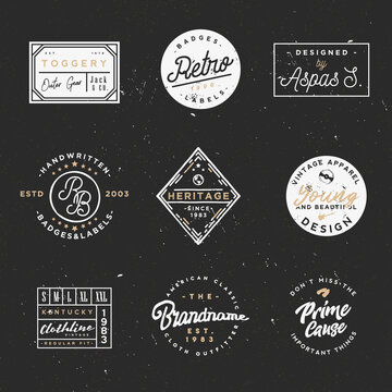 Retro clothing badges in minimal vintage style