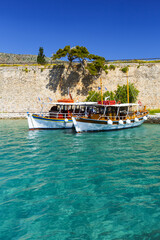 Poster Zanzibar Historical site of Spinalonga island on a sunny spring day, Crete, Greece.