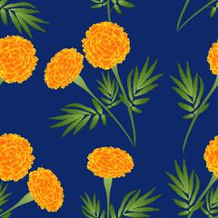 Orange Marigold on Indigo Blue Background. Vector Illustration