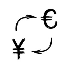 Currency - Grunge - Exchange - Yen and Euro