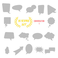 illustration of conversation / speech bubbles icon set on white background