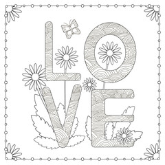 Coloring page. Word love with flowers and butterfly