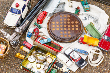 Bits and bobs displayed at a junk shop at Old Spitalfields Market in London