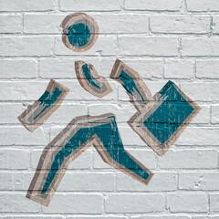 Graffiti, homme d'affaire en train de courir