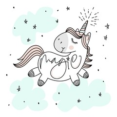 Magic cute unicorn, stars, clouds and hand lettering poster, greeting card, vector illustration with outline