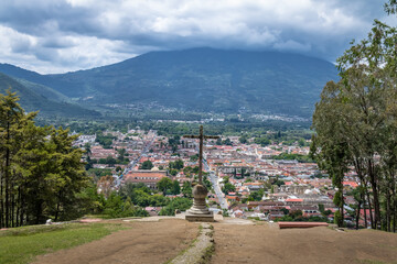 Aerial view of Antigua Guatemala city from Cerro de la Cruz with Agua Volcano in the background - Antigua, Guatemala