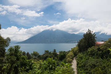 High view of Lake Atitlan and San Pedro Volcano - San Marcos La Laguna, Lake Atitlan, Guatemala
