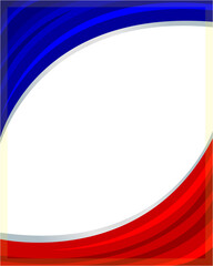 French flag wave Patriotic frame with empty space for your text.