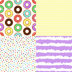 Set of donuts, circle and zigzag. Seamless patterns.