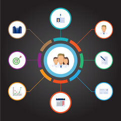Flat Goal, Employee, Contract And Other Vector Elements. Set Of Trade Flat Symbols Also Includes Contract, Day, Badge Objects.