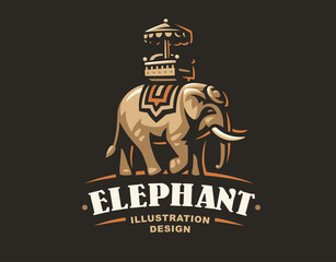 Indian elephant logo - vector illustration, emblem design on dark background