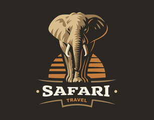 African safari elephant logo - vector illustration, emblem design on dark background